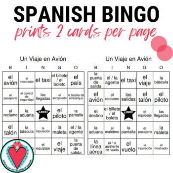 Spanish Bingo: Travel Unit | Un Viaje en Avion