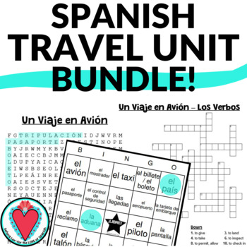 Spanish Bundle - Travel Unit Word Search, Crossword & Bingo