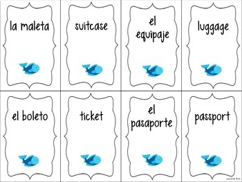 Spanish Travel Vocabulary ¡Pesca! (Go Fish) Game