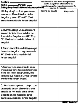 Spanish Triangles and Quadrilaterals Solve and Snip® - Word Problems