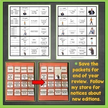 Spanish Interactive Notebook Trifold Flashcards Growing Bundle