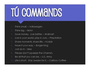 Spanish Tú Commands Slogans and Jingles