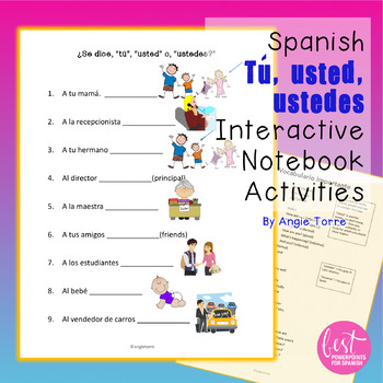 Spanish Tú | usted | ustedes Interactive Notebook Activities