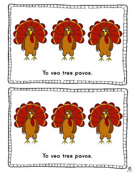 Spanish Turkey Emergent Reader: Counting Turkeys