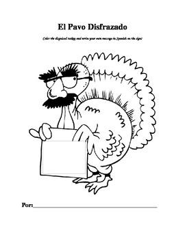 Spanish Turkey in Disguise Thanksgiving Activity - El Pavo Disfrazado