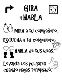 Spanish Turn and Talk poster Academic Conversations Gira Y Habla partners share