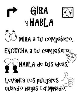 Spanish Turn and Talk poster Academic Conversations Gira Y Habla partners share