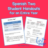 Spanish Two Student Handouts for an Entire Year