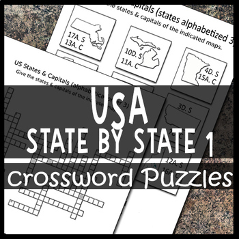 Spanish US Maps of Individual States & Capitals Crossword Puzzle Sheets 1