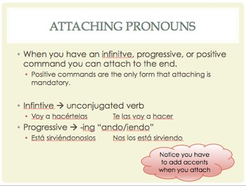 Spanish Ud and Uds commands with pronouns notes