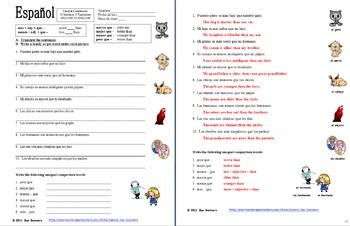 Spanish Unequal Comparative Adjectives SPANISH TO ENGLISH