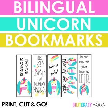English & Spanish Unicorn Bookmarks! Seven Unique Designs!