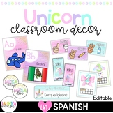 Unicorn Classroom Décor {Spanish Version}