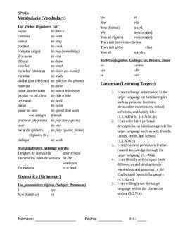 Spanish 1, Unit 3: Subject Pronouns, AR Verbs