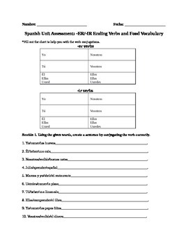 Spanish Unit Assessment: -ER/-IR Ending Verbs and Food Vocabulary