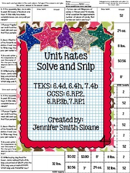 Spanish Unit Rates Word Problems Solve and Snip- Common Core & TEKS
