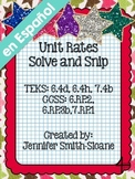 Spanish Unit Rates Word Problems Solve and Snip®- Common Core & TEKS