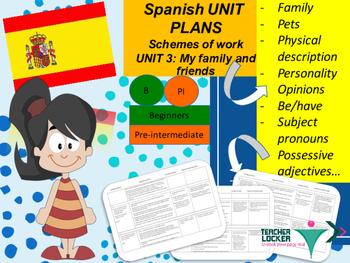 Spanish Unit plans Family, familia Unit 3 for beginners