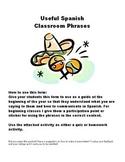 Spanish Useful Classroom Phrases Vocabulary Packet