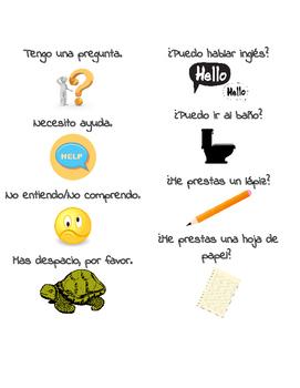 Spanish Useful Phrases Bookmark