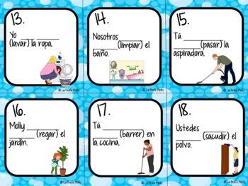 Spanish Using Present Progressive With Chores Task Cards