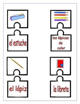 Spanish Utiles escolares Puzzles