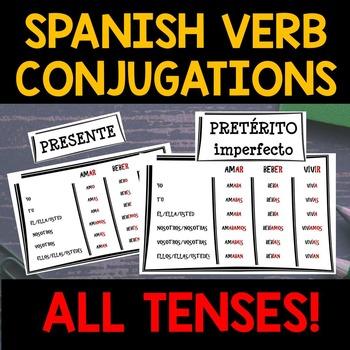 Spanish VERB CONJUGATIONS Word Wall Packet – 15 CHARTS!