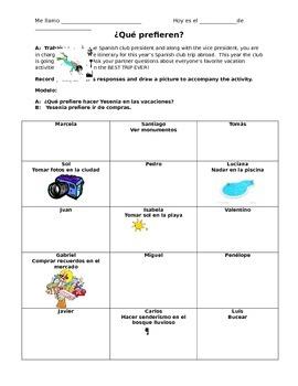 Spanish Vacation Vocabulary - Info Gap Speaking Activity