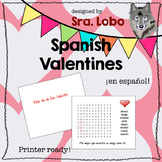 Spanish Valentine Card Crossword Puzzle