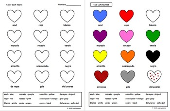 Spanish Valentine Colors Activity Worksheet - Los Colores