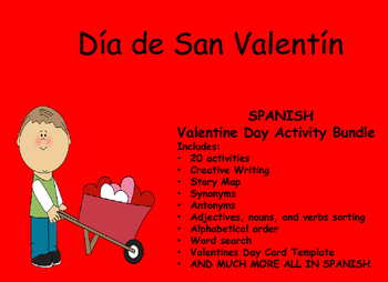 Spanish Valentine Day Activity Bundle Dia de San Valentin