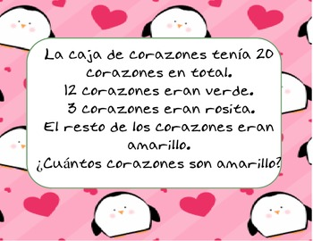 Spanish Valentine Math Word Problems Aligned to Common Core
