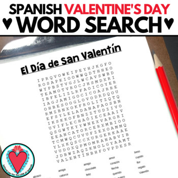 Spanish Valentine's Day WORD SEARCH