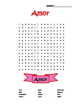 Spanish Valentine's Day Word Search Puzzle
