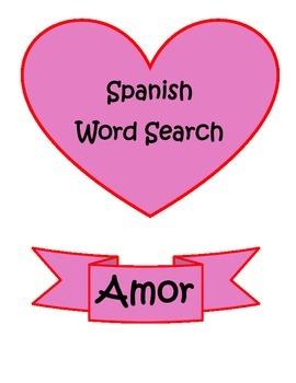 Spanish Dia de Enamorados Valentine Word Search Puzzle