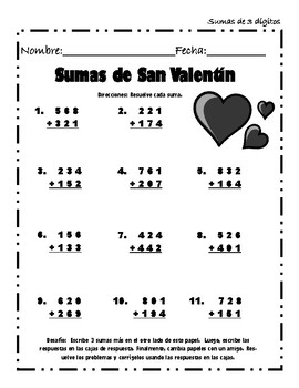Spanish Valentine's Addition and Subtraction Packet