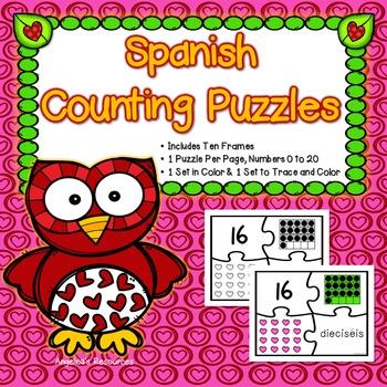 Spanish Numbers: Rompecabezas de Los Números - Puzzles - Día de San Valentín