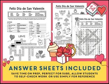Día de San Valentín Spanish Valentine's Day 3 Puzzle Pack: Puzzles & Vocabulary