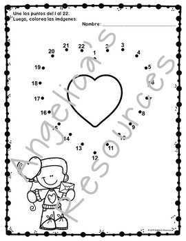 Valentine's Day Spanish Activities: Counting in Spanish - Dot to Dot Printables