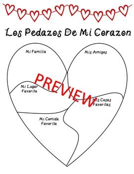 Spanish Valentine's Day Activity: Pedazos de mi Corazón