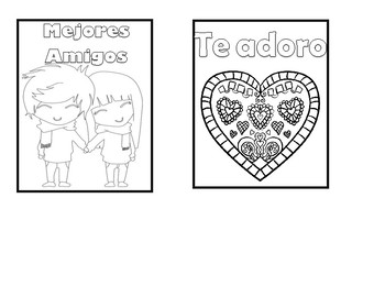Spanish Valentine's Day Cards - 20 different cards to color!