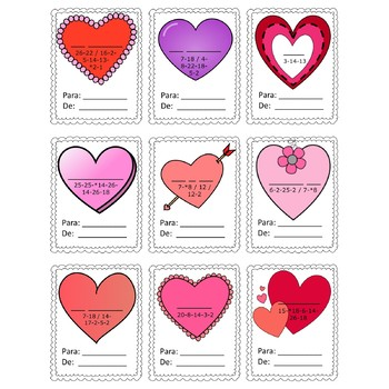 Spanish Valentine's Day Cards and Message Decoder