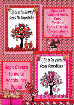 Spanish Valentine's Day Edible and Non Edible Vocabulary Cards