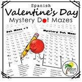 Spanish Valentine's Day Mystery Dot Mazes
