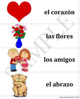 Spanish Valentine's Day Vocab Flash Cards