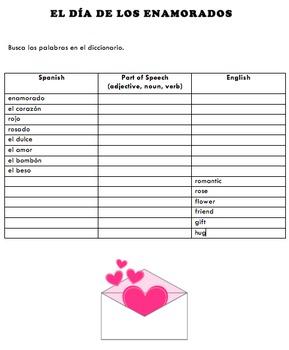 DIA DE LOS ENAMORADOS Spanish Valentine's Day Vocabulary Activities