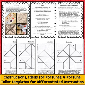 Spanish Valentine's Day Vocabulary, Fortune Teller, Cootie Catcher Activity