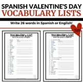 Spanish Valentine's Day Vocabulary Lists - Free Spanish Wo