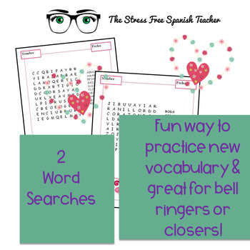 Spanish Valentine's Day Vocabulary Lists, Word Searches, Dictionary Practice