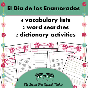 Spanish Valentine's Day Vocabulary Lists, Word Searches, D